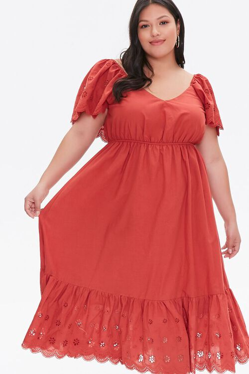 Plus Size Floral Eyelet Dress, image 2