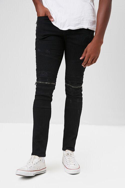 Zippered Moto Skinny Jeans, image 1
