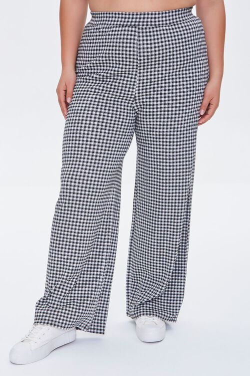 Plus Size Gingham Crop Top & Pants Set, image 5