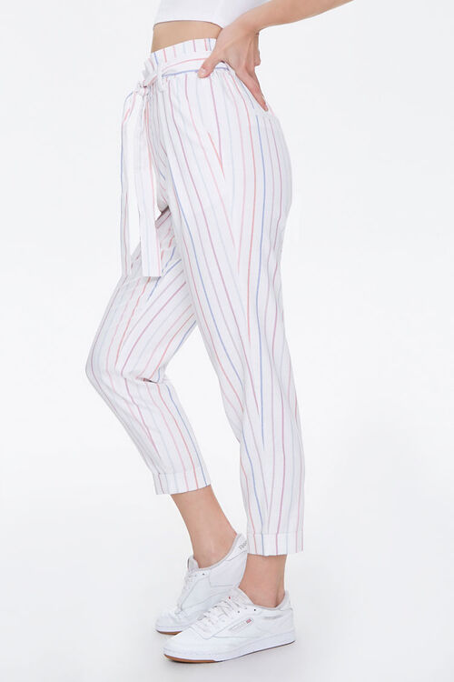 Cuffed Striped Paperbag Pants, image 3