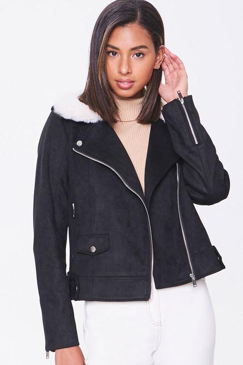 Faux Suede & Faux Fur Collar Moto Jacket, image 1