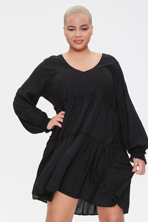 Plus Size Flowy Tiered Peasant Dress, image 1