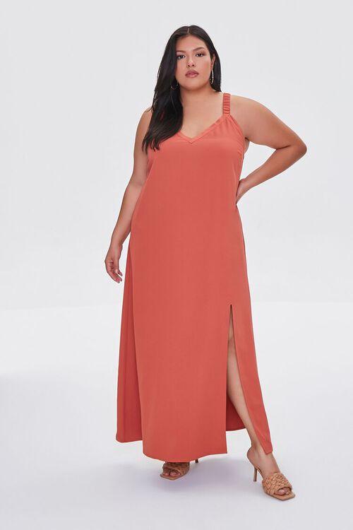 RUST Plus Size M-Slit Maxi Dress, image 1