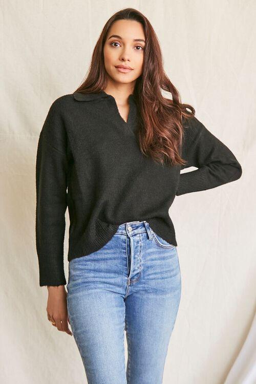 BLACK Brushed Split-Neck Sweater, image 1