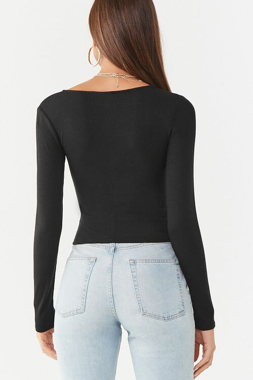 BLACK Ruched Ribbed Top, image 3