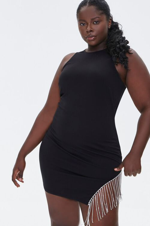 Plus Size Rhinestone Fringe Dress, image 1
