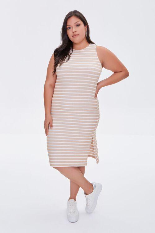 TAUPE/CREAM Plus Size Striped Tank Dress, image 4