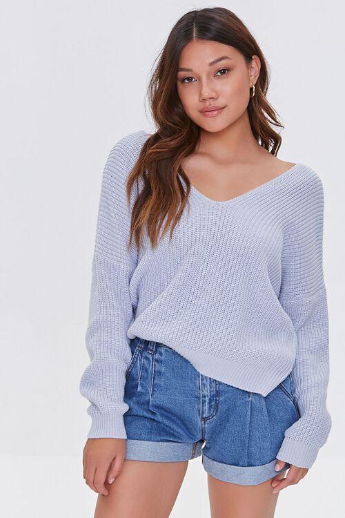 Ribbed Twist-Back Sweater, image 1
