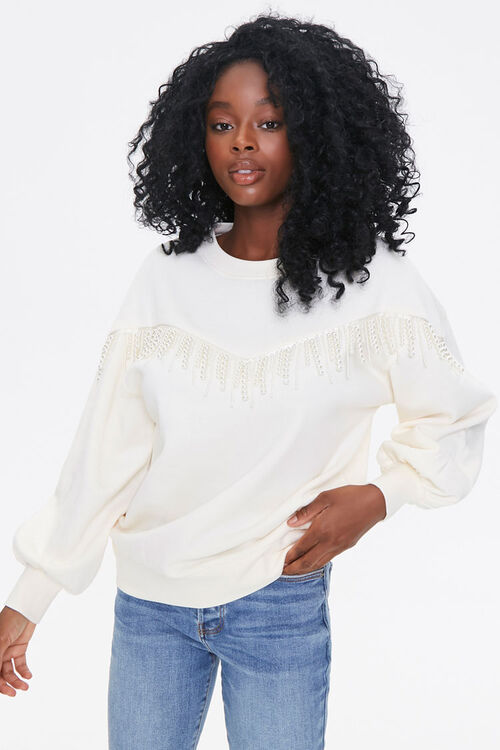 Fleece Faux Pearl Pullover, image 1