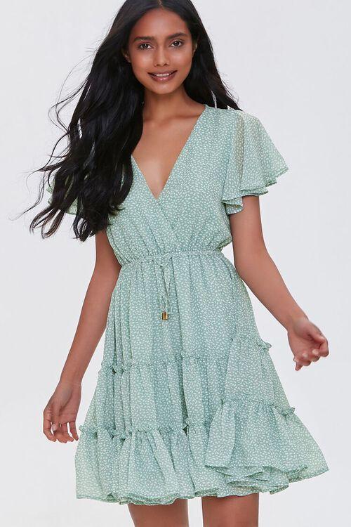 MINT/CREAM Tiered Speckle Print Mini Dress, image 1