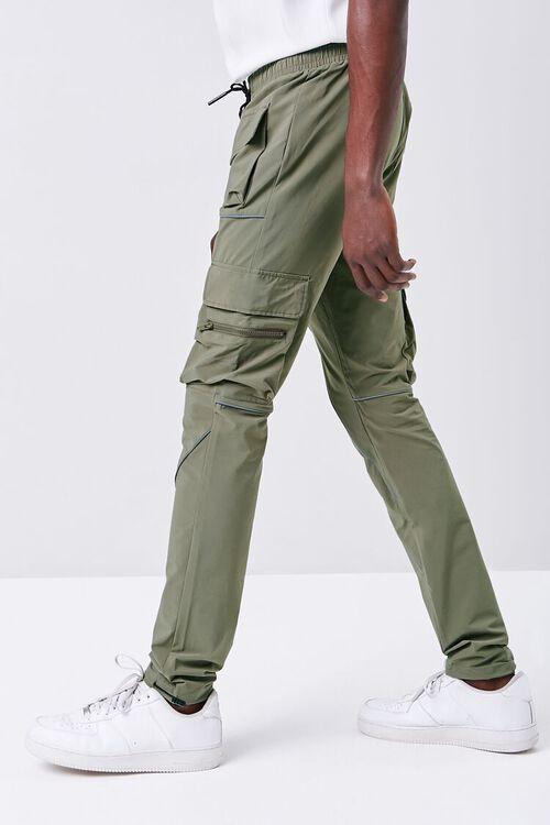Piped-Trim Drawstring Cargo Pants, image 3