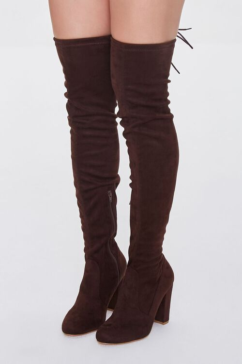 BROWN Faux Suede Over-the-Knee Boots, image 1