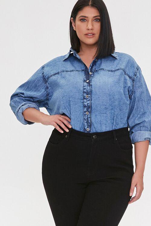 Plus Size Denim Buttoned Shirt, image 1
