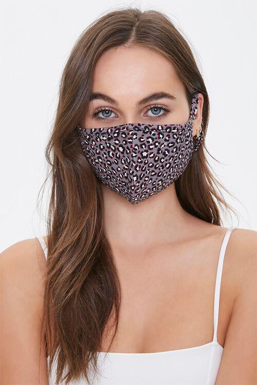 TAUPE/MULTI Leopard Print Face Mask, image 1