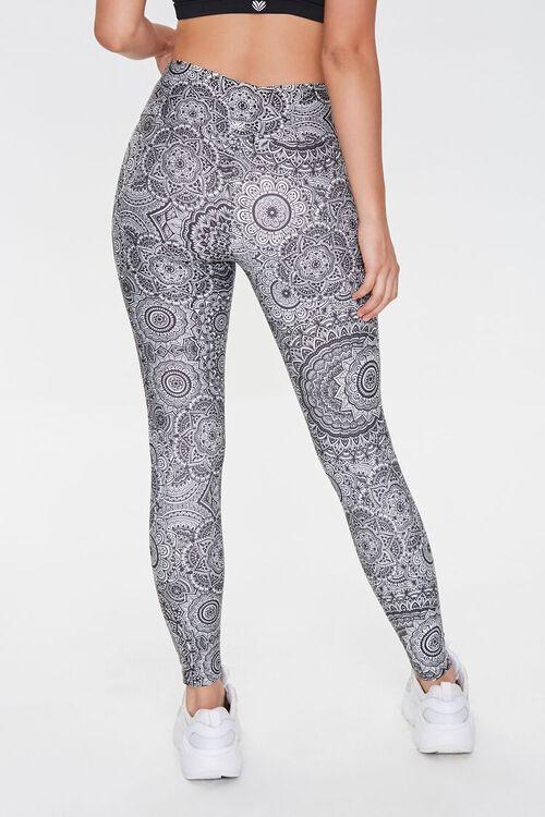 BLACK/WHITE Active Ornate Floral Print Leggings, image 3