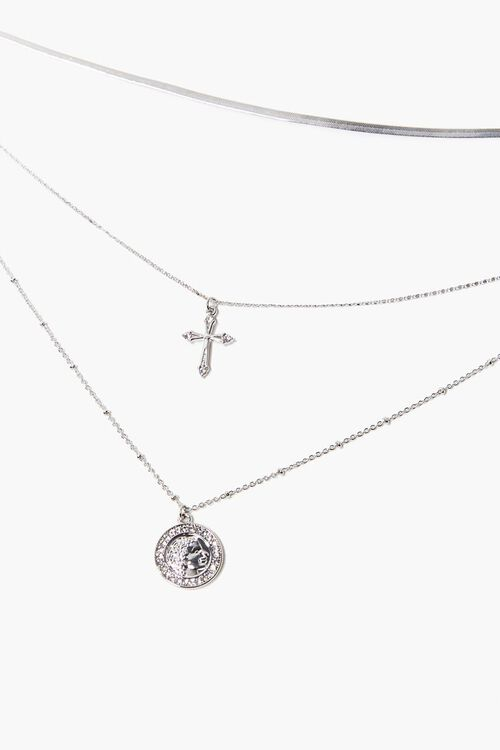 Coin Pendant & Cross Charm Layered Necklace, image 1