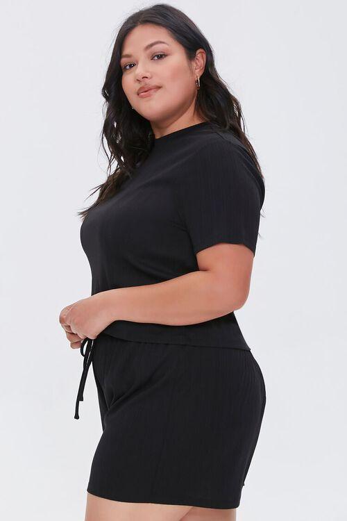 Plus Size Tee & Drawstring Shorts Set, image 2