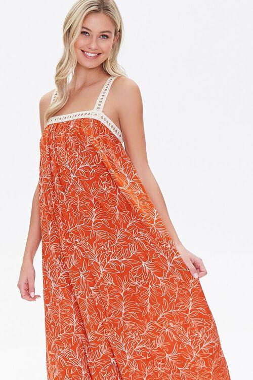 Leaf Print Crochet-Trim Dress, image 2