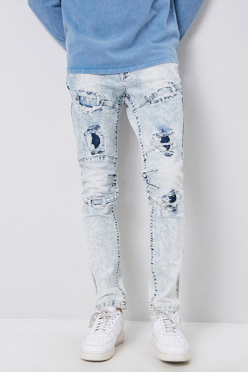 Distressed Panel Slim-Fit Jeans, image 1