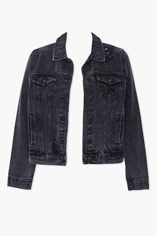 Plus Size Distressed Denim Jacket, image 1