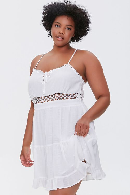 Plus Size Crochet-Trim Mini Dress, image 1