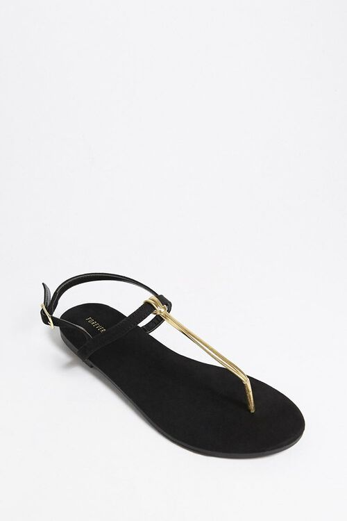 Metallic Faux Leather Thong Sandals, image 4