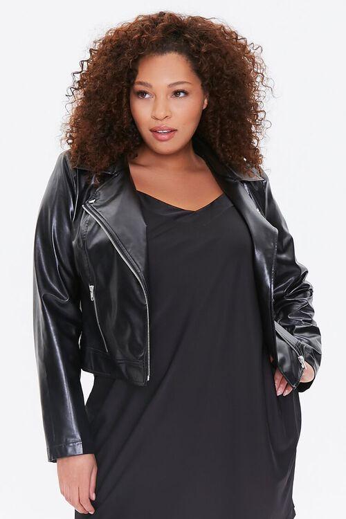 Plus Size Vented Moto Jacket, image 1