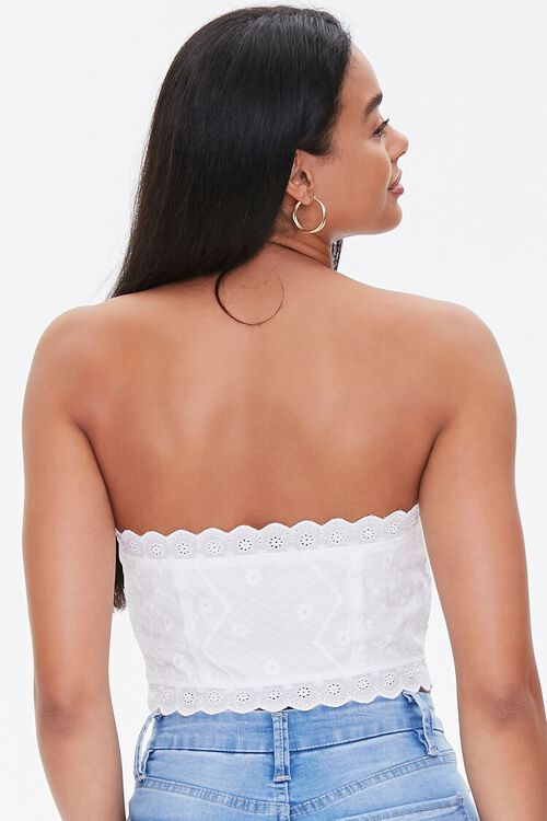 Lace-Up Embroidered Tube Top, image 3