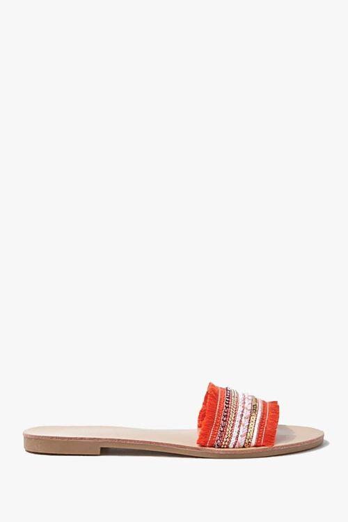 ORANGE Beaded Fringe-Vamp Sandals, image 1