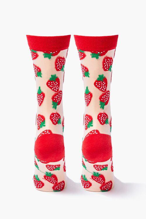 Sheer Strawberry Crew Socks, image 2