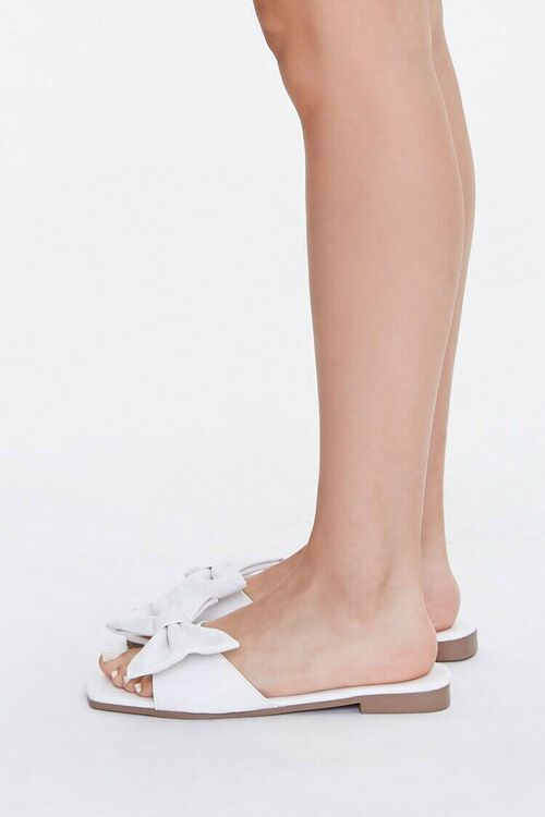 Faux Leather Slip-On Bow Sandals, image 2