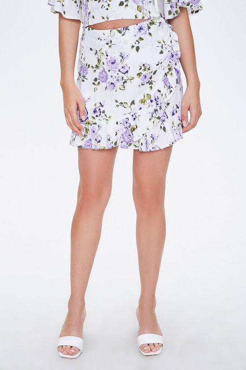 Floral Mock Wrap Skirt, image 2