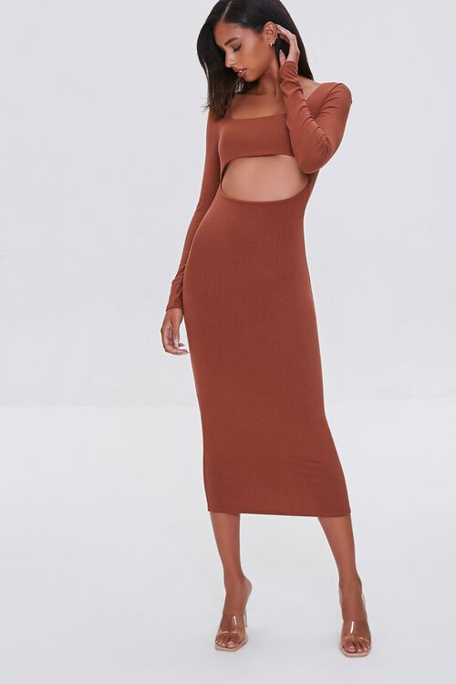 BROWN Cutout Midi Bodycon Dress, image 1