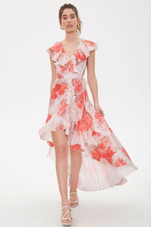Satin Floral High-Low Wrap Dress, image 1