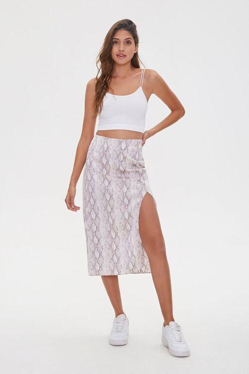 GREY/MULTI Snake Print Slit Skirt, image 1
