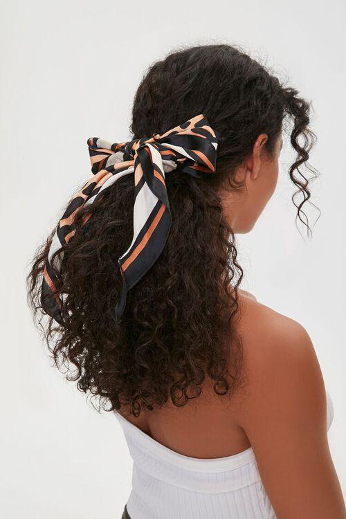 Banded Leopard Print Bow Scrunchie, image 1