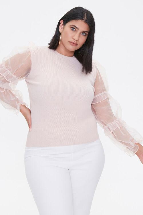 Plus Size Sheer-Sleeve Sweater, image 1