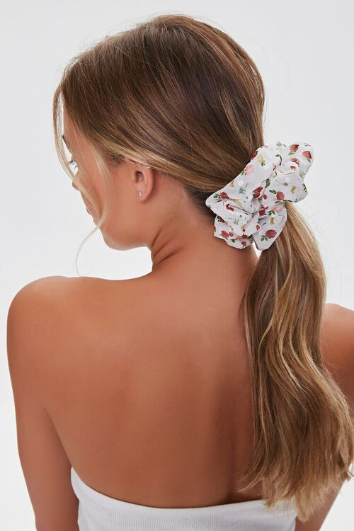 Floral Butterfly Print Scrunchie, image 1