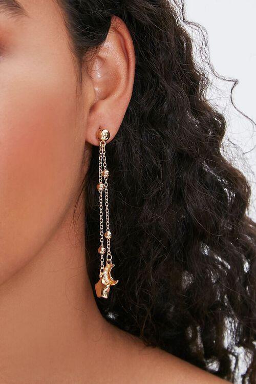 Moon & Star Charm Drop Earrings, image 1