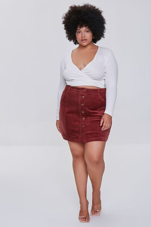 Plus Size Buttoned Corduroy Skirt, image 5