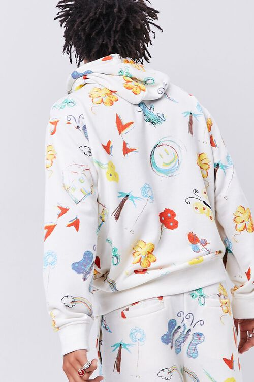 Doodle Print French Terry Hoodie, image 3