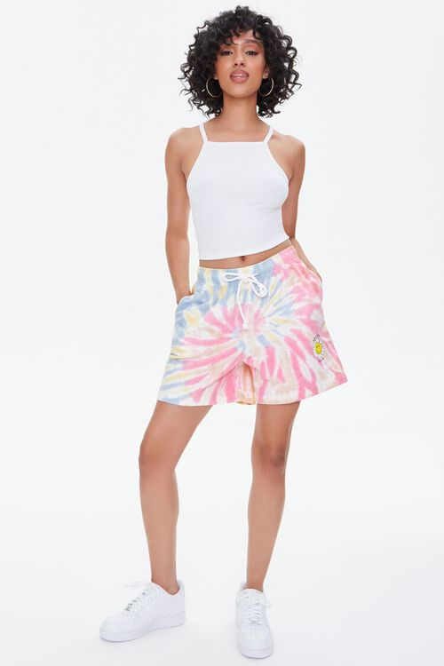 Positive Vibes Graphic Tie-Dye Shorts, image 5