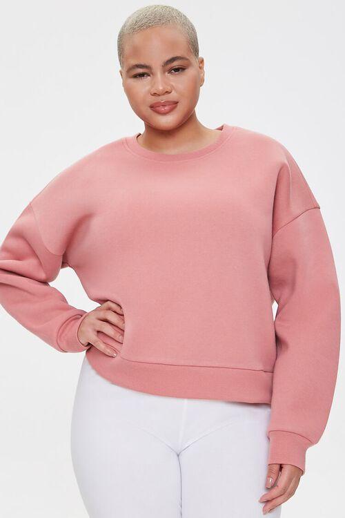 Plus Size Fleece Crew Neck Sweatshirt, image 1