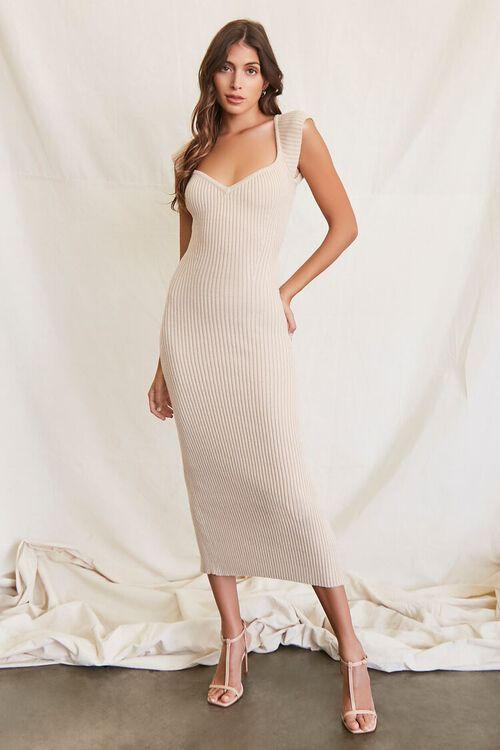 BEIGE Sweater-Knit Ribbed Midi Dress, image 4