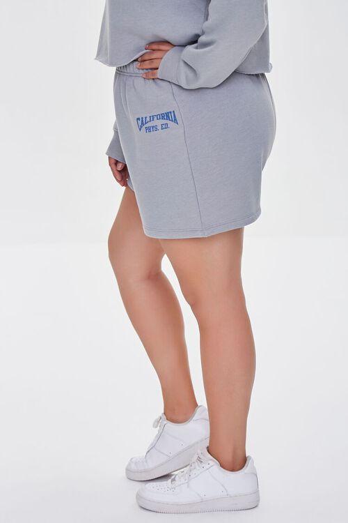 HEATHER GREY/BLUE Plus Size Fleece California Shorts, image 3