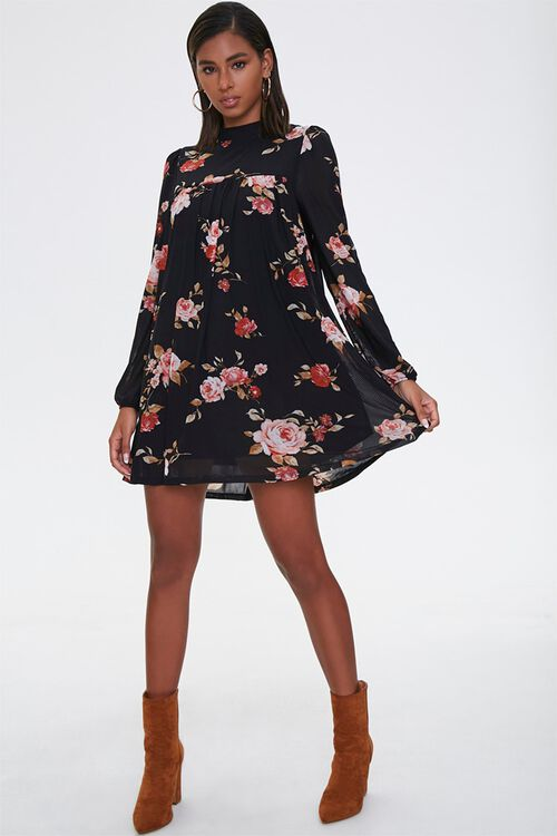 Floral Mock Neck Swing Dress, image 4