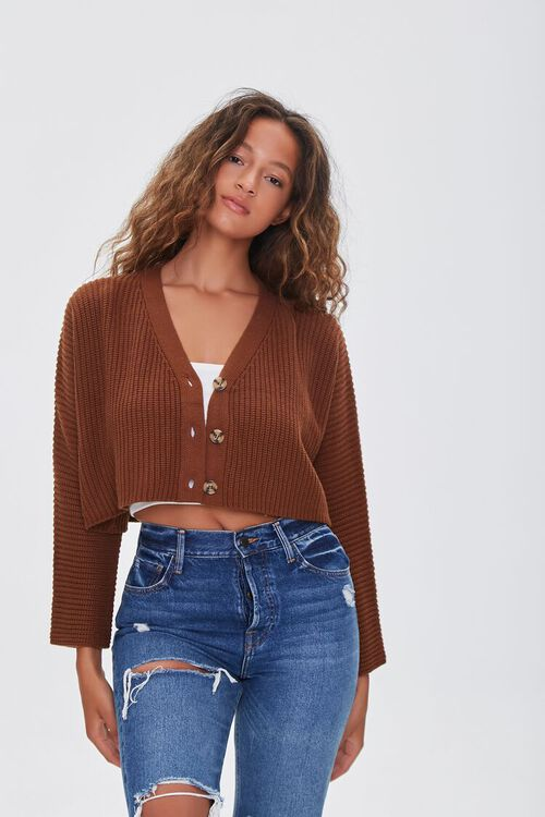 BROWN Ribbed Cropped Cardigan Sweater, image 5