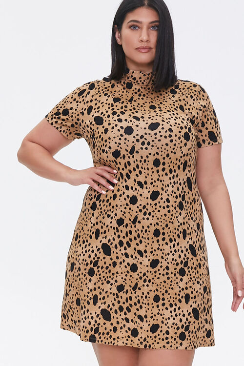 Plus Size Spotted Bodycon Dress, image 1