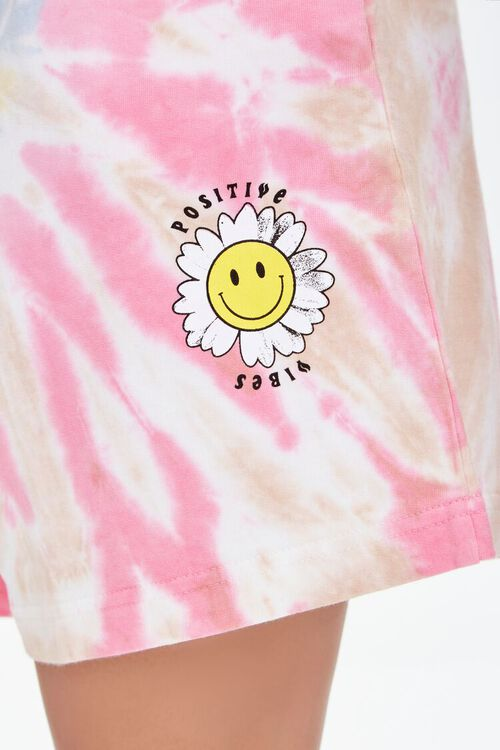 Positive Vibes Graphic Tie-Dye Shorts, image 6