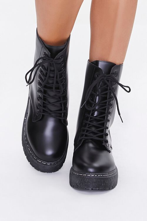 Faux Leather Combat Boots, image 4